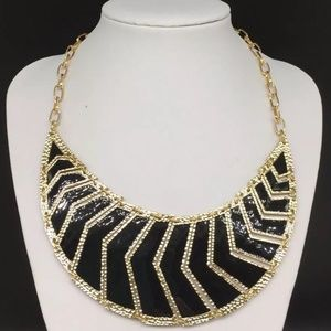 Amrita Singh Chevron Black Enamel Gold Necklace